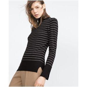 NWT Zara Knit Striped Turtleneck Sweater